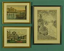 3 Aquatint Etchings of Florence - Bela Sziklay
