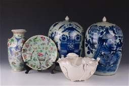 5 Chinese Porcelain Bowl Plate Jar  Vase