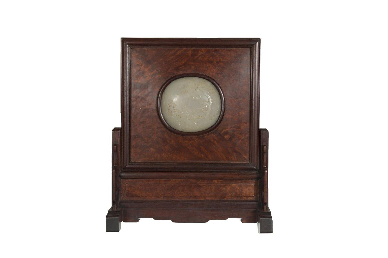 Chinese Hardwood Screen with18th Century White Jade