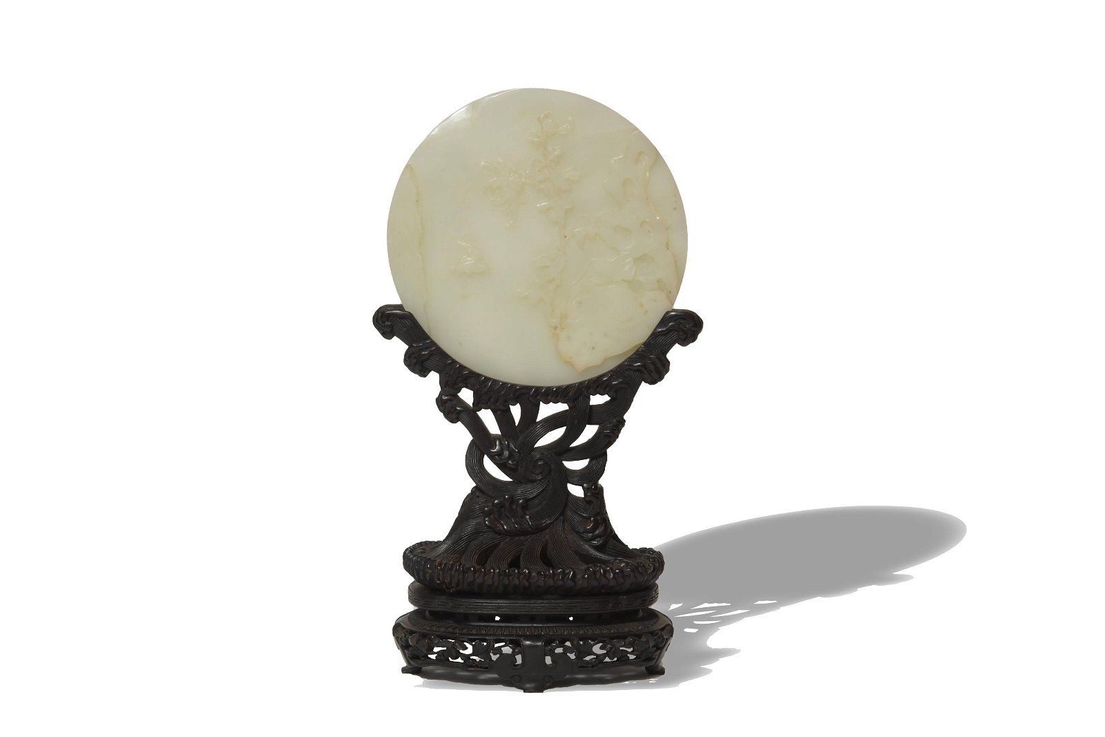 Chinese Jade Round Screen with Zitan Stand, 18th