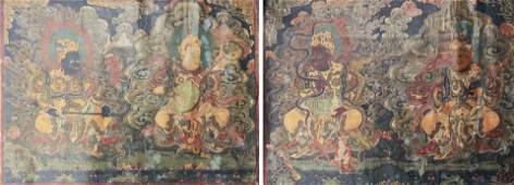 Pair of Thangkas of Guardian Kings 18th C or Earlier