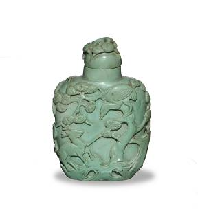 Chinese Carved Turquoise Snuff Bottle, 19th Century
