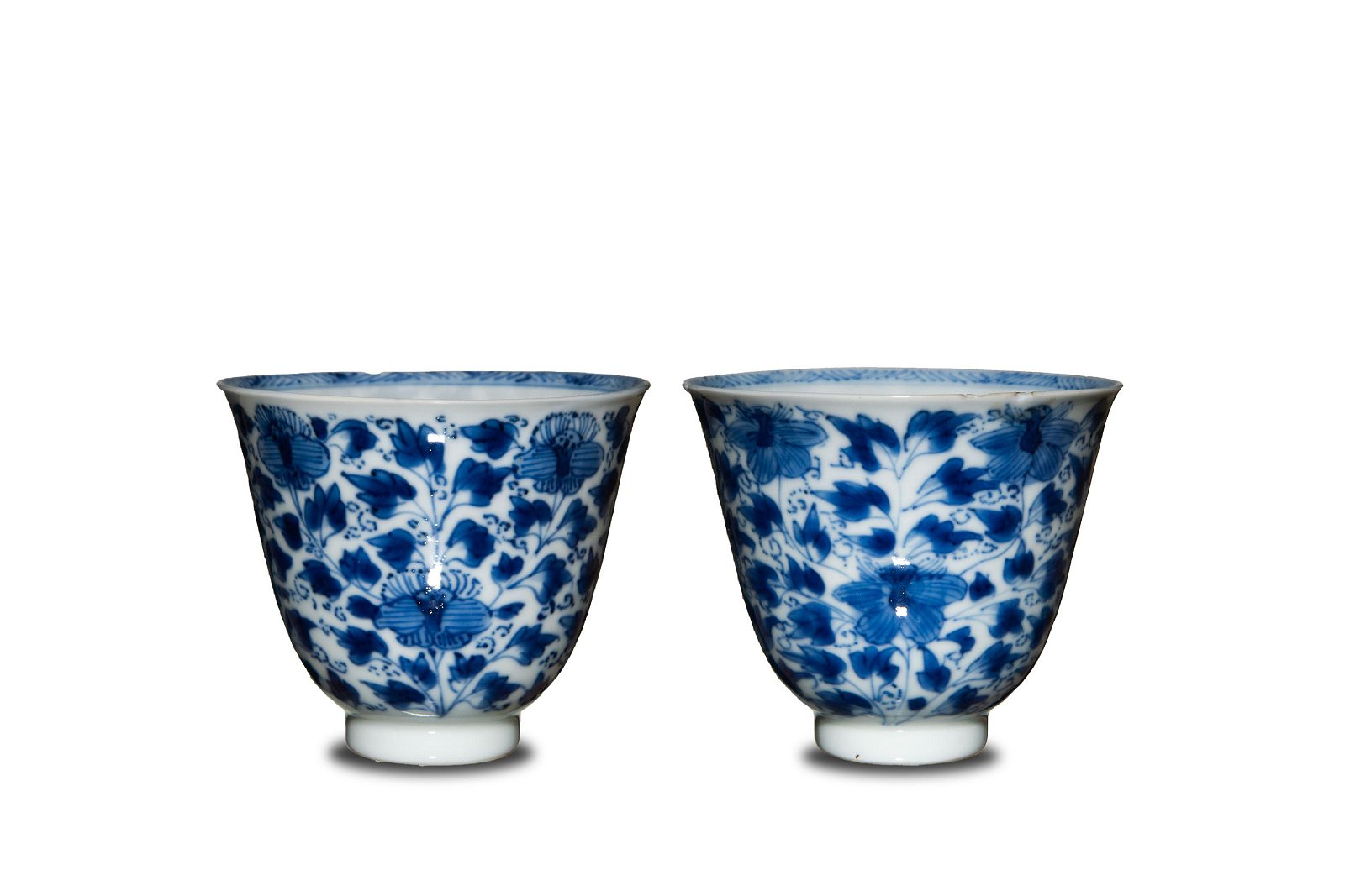 Pair of Chinese Blue and White Porcelain Cups, Kangxi