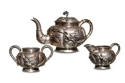 3-Piece Chinese Silver Dragon Tea Set