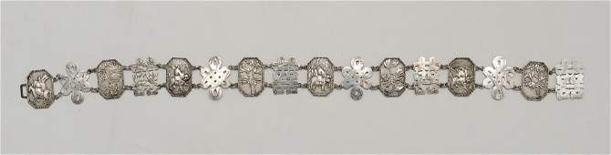Chinese Export Silver 16Link Belt 19th Century