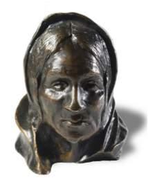 1899 Henry Farny Bronze Bust of Zuni Woman 8/10