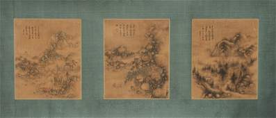 Set of Three Unsigned Chinese Landscape Paintings