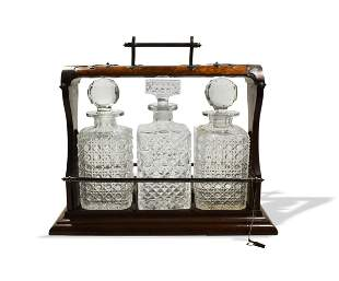 Victorian Burl Tantalus- ABCG Crystal Decanters