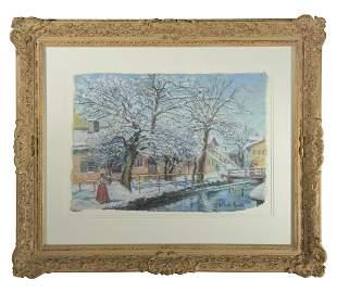 H. Claude Pissaro Pastel Snow Scene