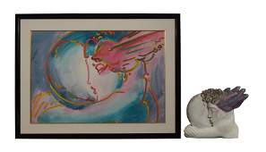 Peter Max Bronze & Litho 'I Love the World' 16/250