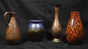 4 Art Pottery Vases & Brass Vase