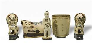 5 Chinese Cizhou Porcelains, Ming or Earlier