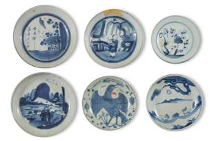 6 Chinese Blue & White Plates, Ming/Qing