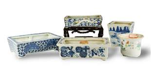 5 Chinese Porcelain Jardinieres, 19th Century