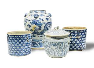 4 Chinese Blue & White Porcelains, 19th Century