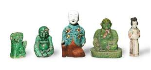 5 Chinese Porcelain Statues, Qing