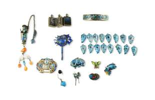 Group of Chinese Enameled Silver Items, 19th Century