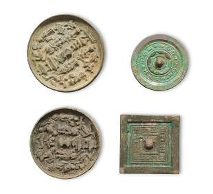 4 Chinese Bronze Mirrors, Han/Ming Dynasty