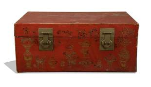 Chinese Gilt Leather Box, 19th Century