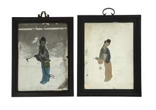 2 Chinese Reverse Glass Paintings, 19th Century