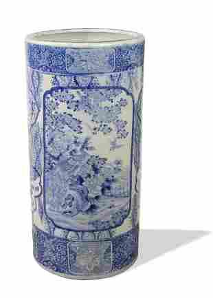 Large Japanese Blue & White Vase, Late Edo