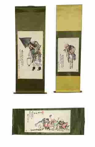 3 Chinese Scroll Paintings of Drunken Spirits