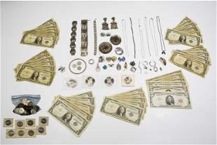 Lot of Silver Jewelry, Silver Certificates, Coins
