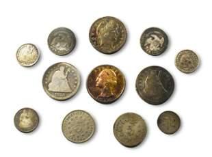 US Half Dimes, Shield Nickels Barber Quarters Etc
