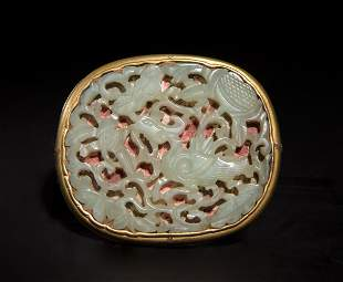 Chinese Gilt Bronze Buckle with Jade Plaque, 18th