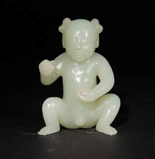 Chinese Carved Jade Boy, 18th Century