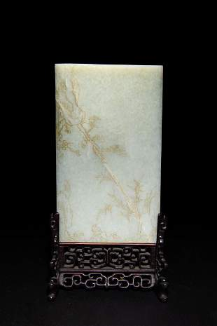 Chinese Carved Jade Table Screen, 19th Century early