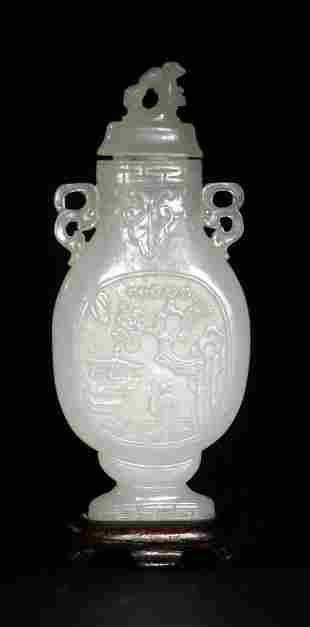 Chinese Carved White Jade Lidded Vase, 18 Century