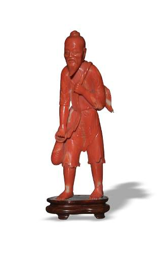 Chinese Carved Coral Fisherman, 19th Century