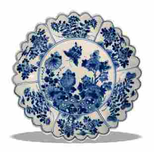 Chinese Blue and White Lobed Floral Plate, Kangxi