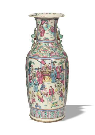 Chinese Famille Rose Floor Vase, Late Qing