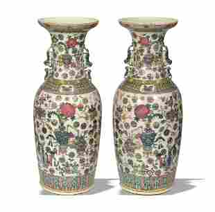 Pair of Large Famille Rose Vases, Late 19th Century