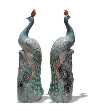Pair of Chinese Famille Rose Peacocks, 19th Century