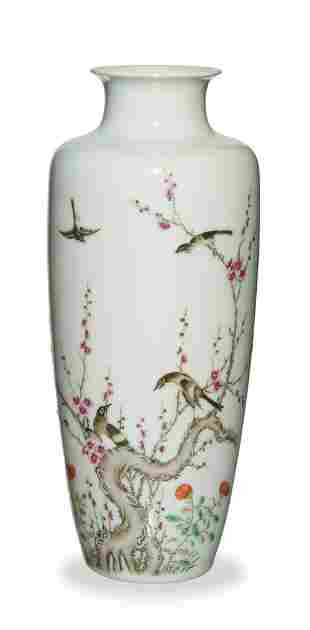 Chinese Famille Rose Vase with Magpies, Republic