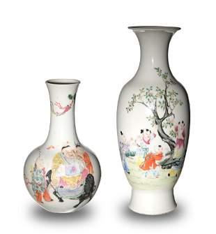 2 Chinese Famille Rose Vases, Republic
