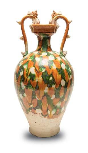 Chinese Sancai Vase with Dragon Handles, Tang