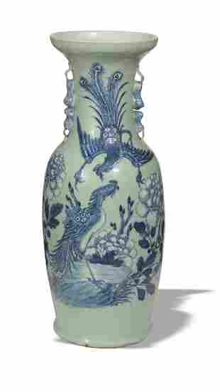Chinese Celadon Ground Blue and White Vase, 19th