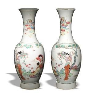 Pair of Vases with Court Ladies, Republic