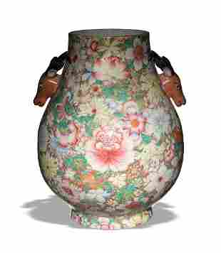 Chinese Famille Rose Deer Head Vase, Republic