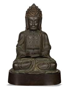 Large Chinese Gilt Bronze Statue of Guanyin, Ming