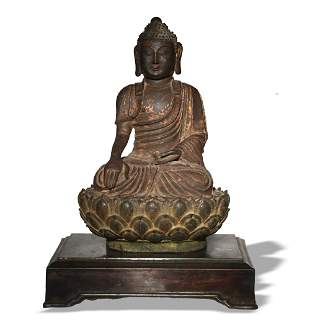 Chinese Gilt Bronze Seated Buddha, Ming
