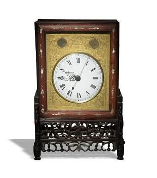 Chinese Rosewood and Brass Table Clock, Republic