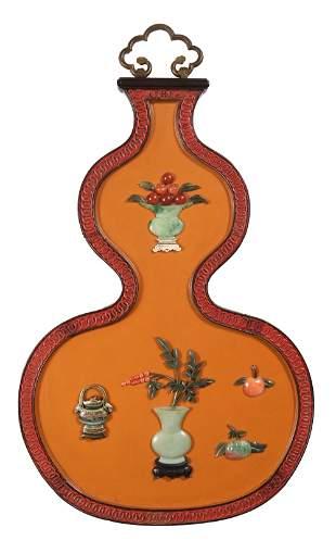 Chinese Inlaid Zitan Hulu-Shape Panel, 19th Century