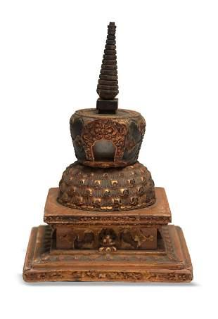 Chinese Gilt Wooden Stupa Shrine, 18th Century