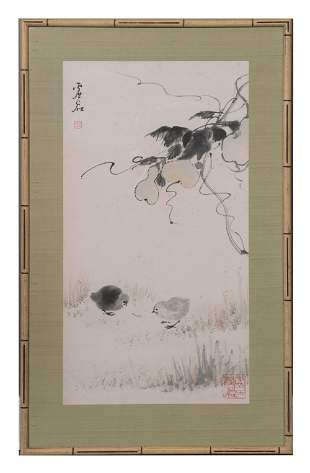 Chinese Painting of Chicks by Xu Gu