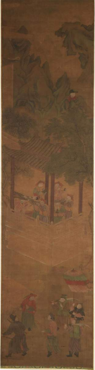 Chinese Landscape Painting with 24 Figures